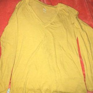 V Neck Mustard Color Long Sleeve